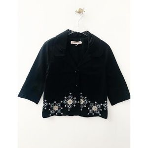 johnny was / embroidered collar blazer jacket